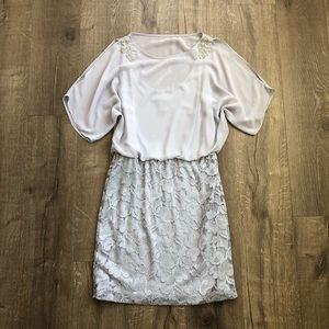 Scarlett Nitw Silver Chiffon Beaded Cocktail Dress